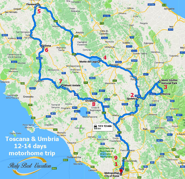 Idea  Motorhome trip   Recommended  days 12-14 Toscana & Umbria