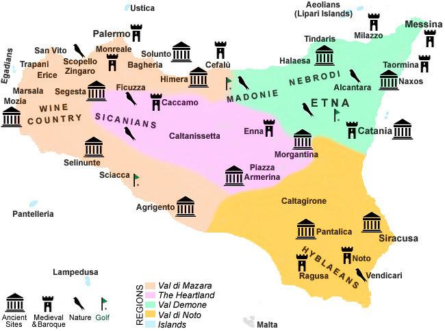 Agri Etna Catania -  Attractionsmain historical places in Sicilia