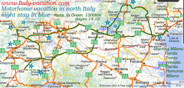 Motorhome vacation in noth Italy Night stay in Blue star , Route in Green 1500km 10-14 days